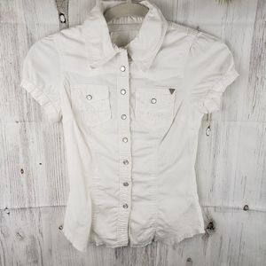 Guess Jeans Embroidered Snap Button Top Size XS